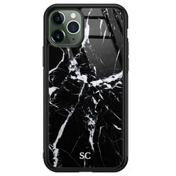 iPhone 11 Pro Max glazen hoesje ontwerpen - Marmer zwart