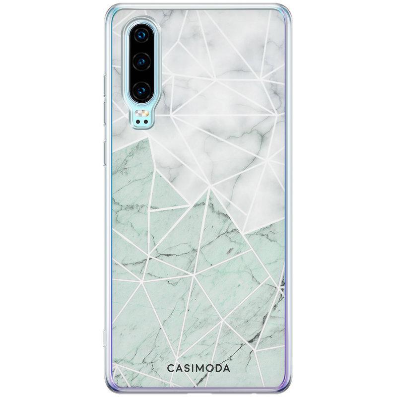 Casimoda Huawei P30 siliconen telefoonhoesje - Marmer mint mix