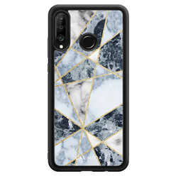 Casimoda Huawei P30 Lite hoesje - Abstract marmer blauw