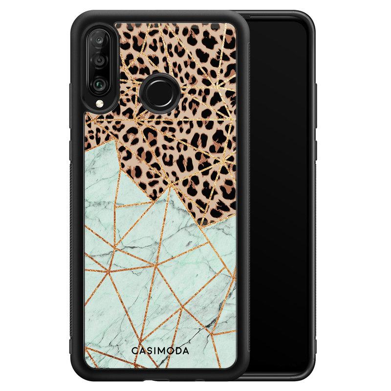 Casimoda Huawei P30 Lite hoesje - Luipaard marmer mint