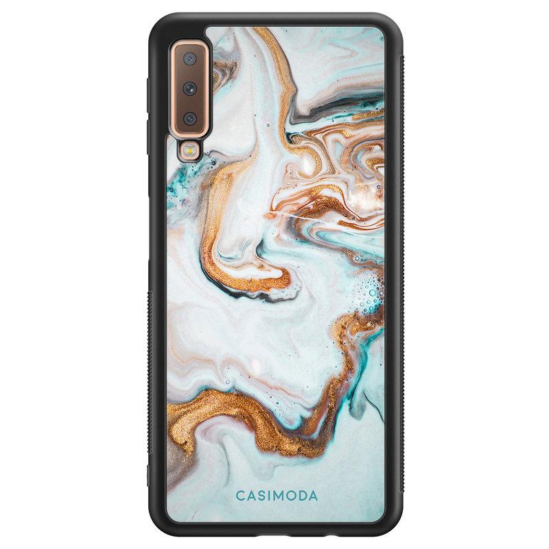 Casimoda Samsung Galaxy A7 2018 hoesje - Marmer blauw goud