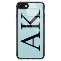 iPhone SE 2020 glazen hoesje ontwerpen - Blauw initialen