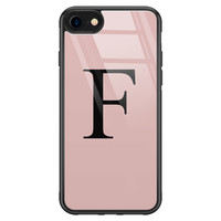 iPhone SE 2020 glazen hoesje ontwerpen - Roze initialen