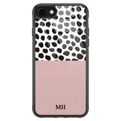iPhone SE 2020 glazen hoesje ontwerpen - Pink dots