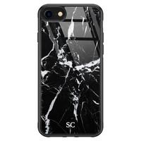 iPhone SE 2020 glazen hoesje ontwerpen - Marmer zwart