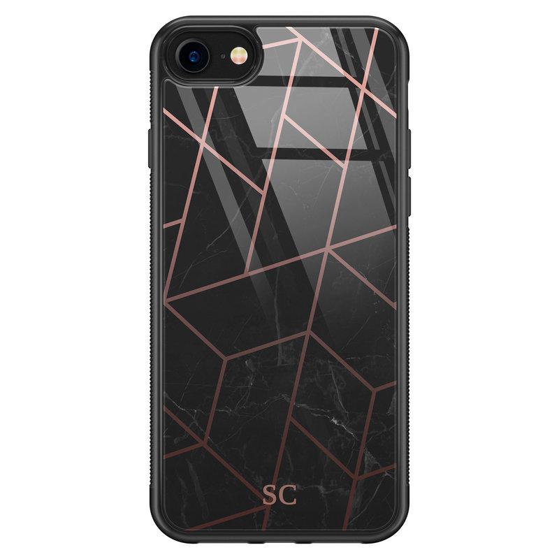 iPhone SE 2020 glazen hoesje ontwerpen - Marble grid