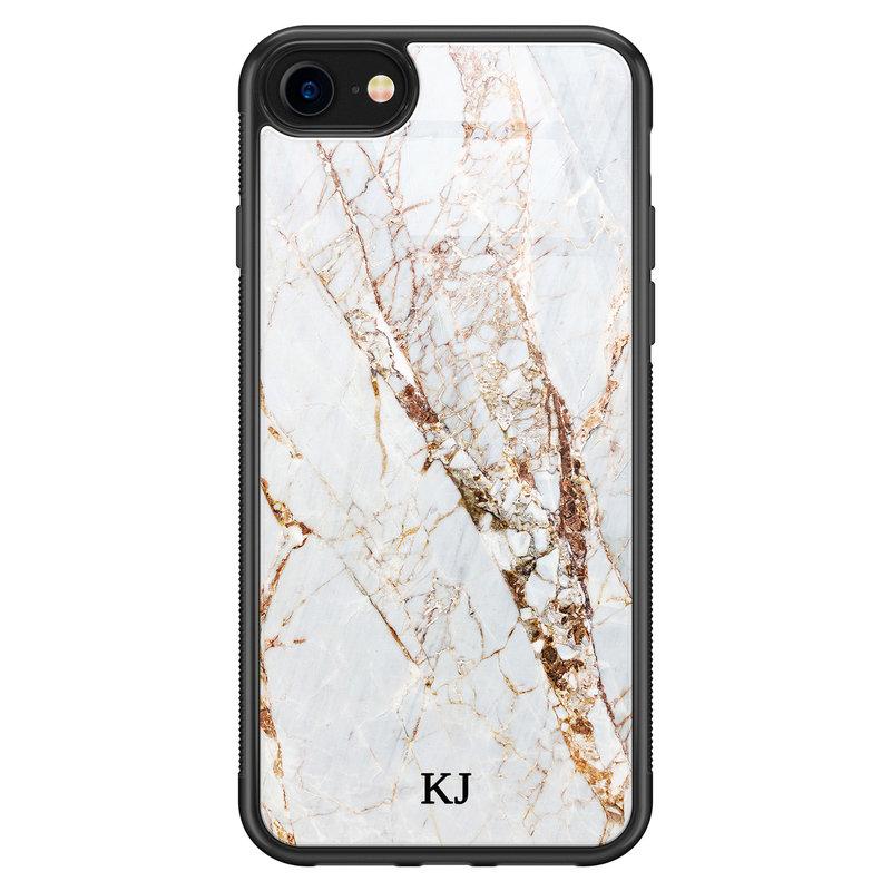 iPhone SE 2020 glazen hoesje ontwerpen - Marmer goud