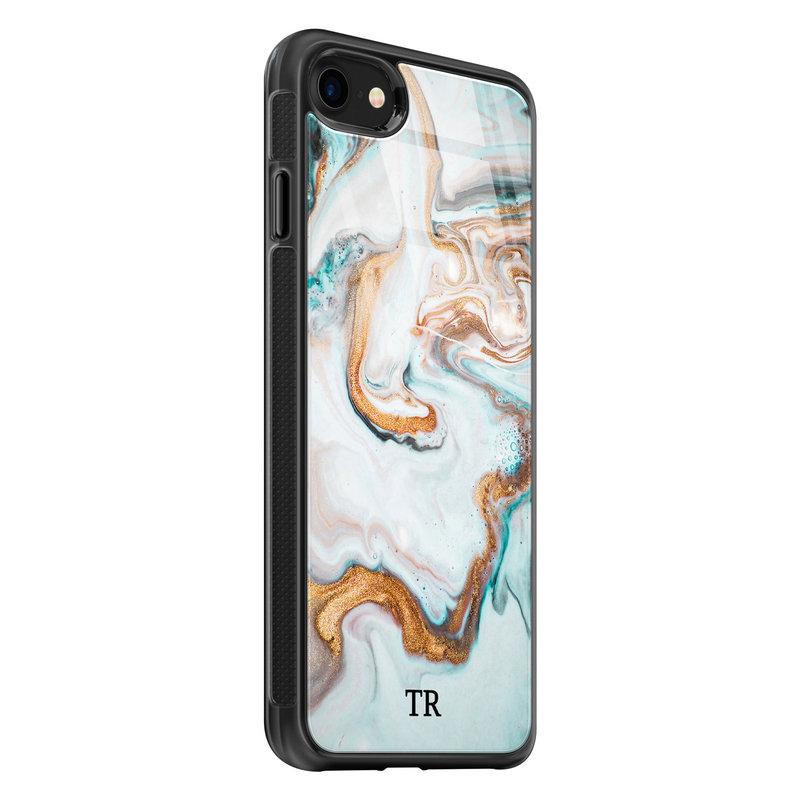 iPhone SE 2020 glazen hoesje ontwerpen - Marmer blauw goud