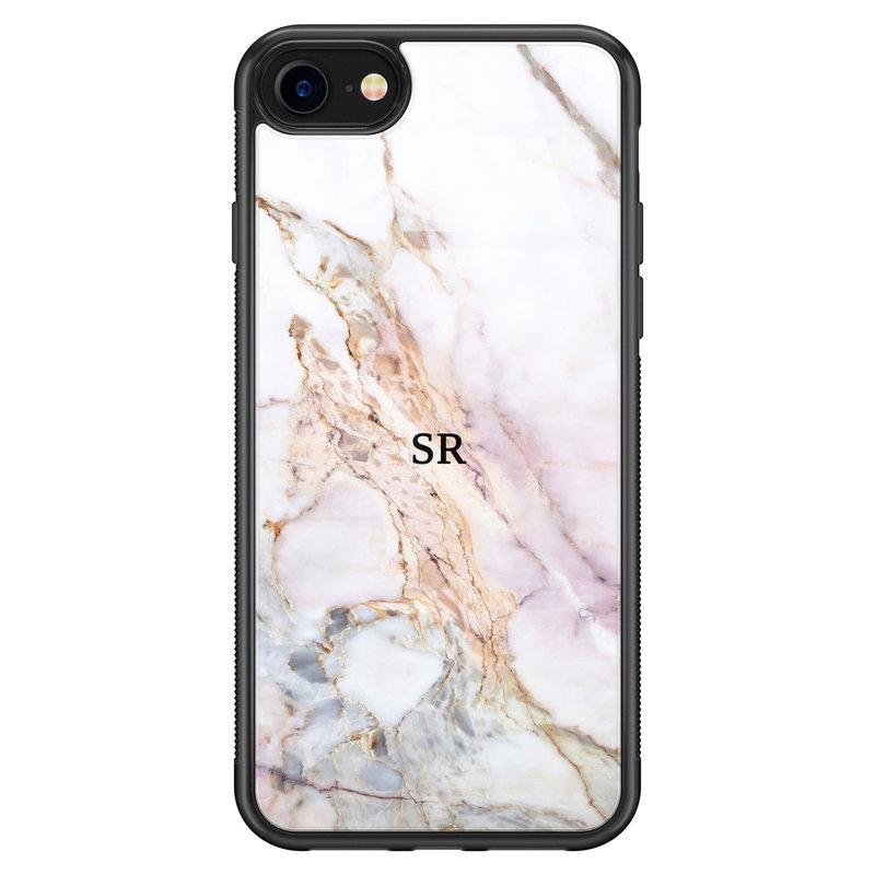 iPhone SE 2020 glazen hoesje ontwerpen - Parelmoer marmer