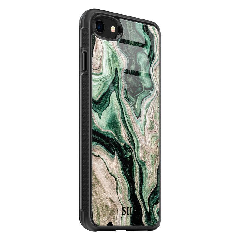 iPhone SE 2020 glazen hoesje ontwerpen - Green waves