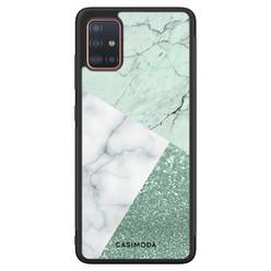 Casimoda Samsung Galaxy A71 hoesje - Minty marmer collage