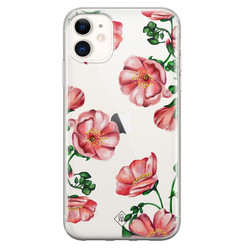Casimoda iPhone 11 transparant hoesje - Red flowers