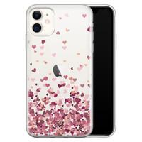 Casimoda iPhone 11 transparant hoesje - Falling hearts