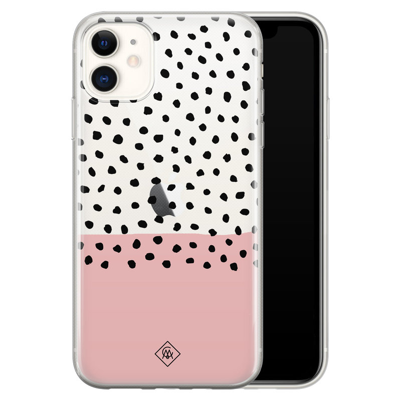 Casimoda iPhone 11 transparant hoesje - Pink spots