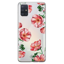 Casimoda Samsung Galaxy A51 transparant hoesje - Red flowers