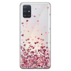 Casimoda Samsung Galaxy A51 transparant hoesje - Falling hearts