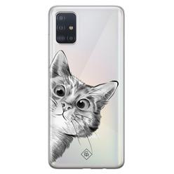 Casimoda Samsung Galaxy A51 transparant hoesje - Peekaboo