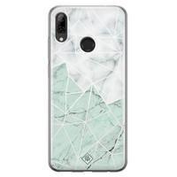Casimoda Huawei P Smart 2019 siliconen telefoonhoesje - Marmer mint mix