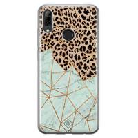 Casimoda Huawei P Smart 2019 siliconen hoesje - Luipaard marmer mint