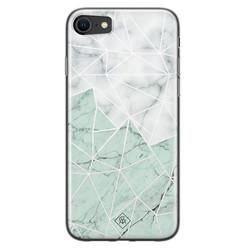 Casimoda iPhone SE 2020 siliconen hoesje - Marmer mint mix