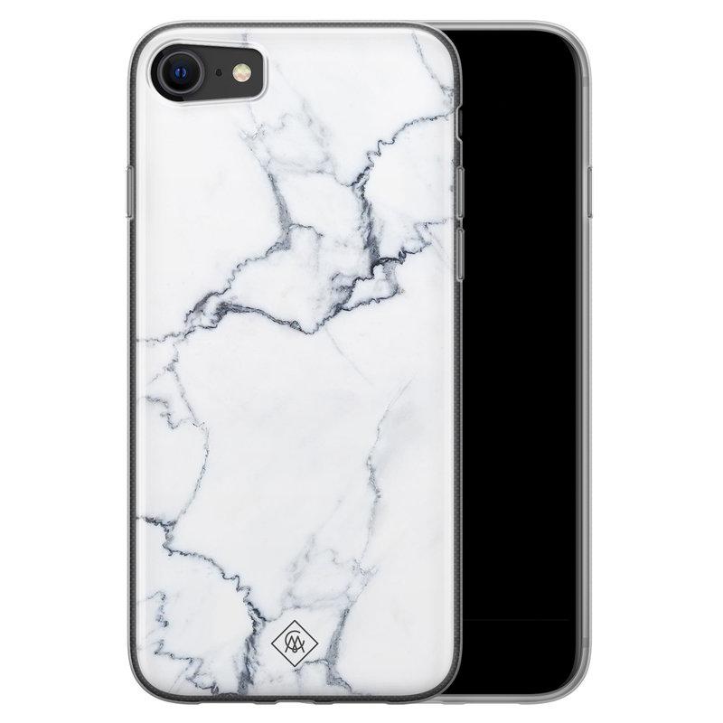Casimoda iPhone SE 2020 siliconen hoesje - Marmer grijs