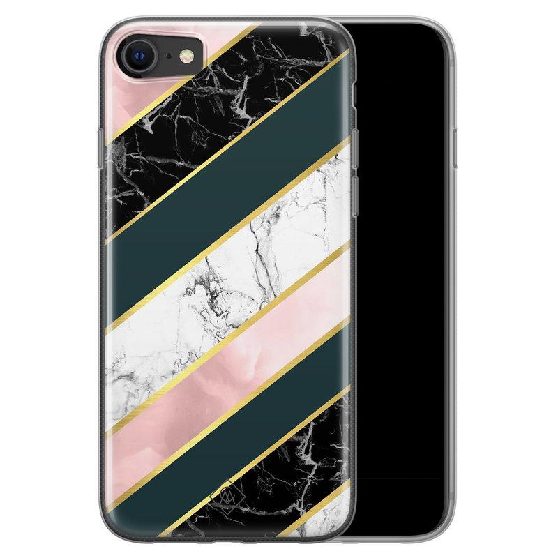 Casimoda iPhone SE 2020 siliconen hoesje - Marble stripes