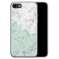 Casimoda iPhone SE 2020 siliconen telefoonhoesje - Marmer mint mix