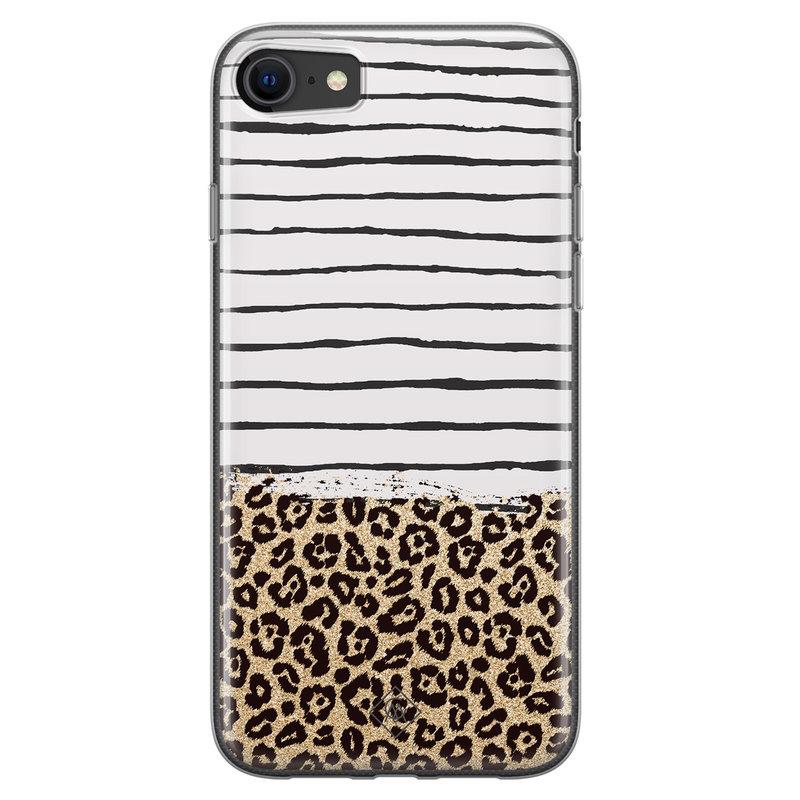 Casimoda iPhone SE 2020 siliconen telefoonhoesje - Leopard lines