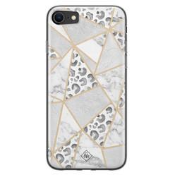 Casimoda iPhone SE 2020 siliconen hoesje - Stone & leopard print