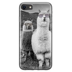 Casimoda iPhone SE 2020 siliconen hoesje - Llama hipster