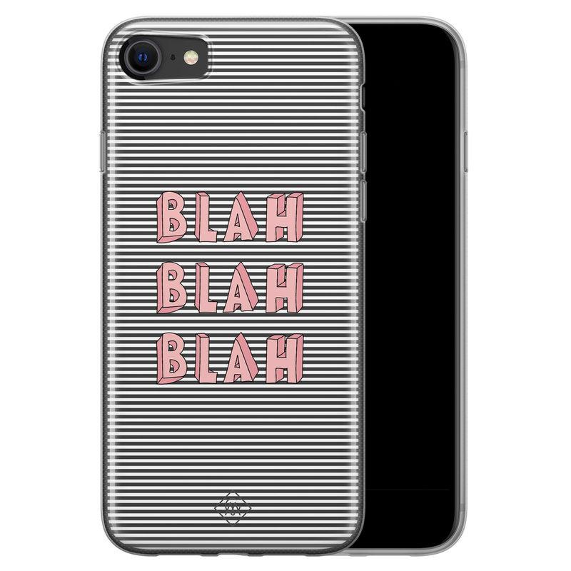 Casimoda iPhone SE 2020 siliconen telefoonhoesje - Blah blah blah
