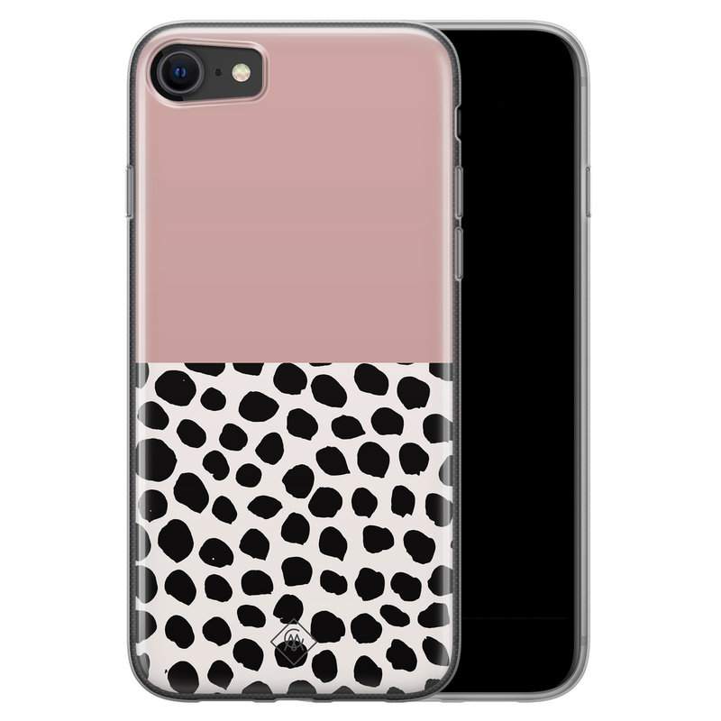 Casimoda iPhone SE 2020 siliconen hoesje - Pink dots