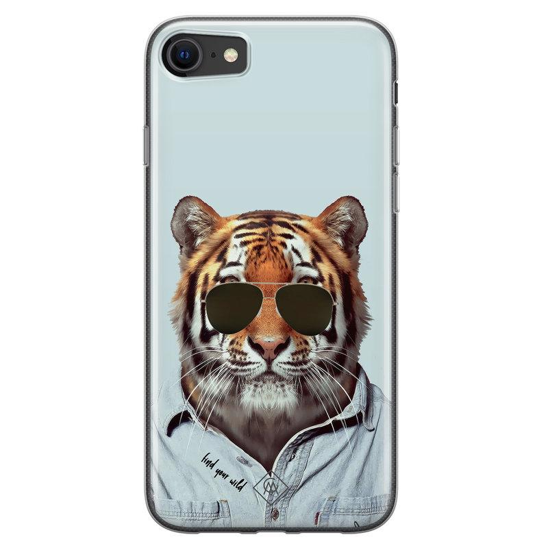 Casimoda iPhone SE 2020 siliconen hoesje - Tijger wild