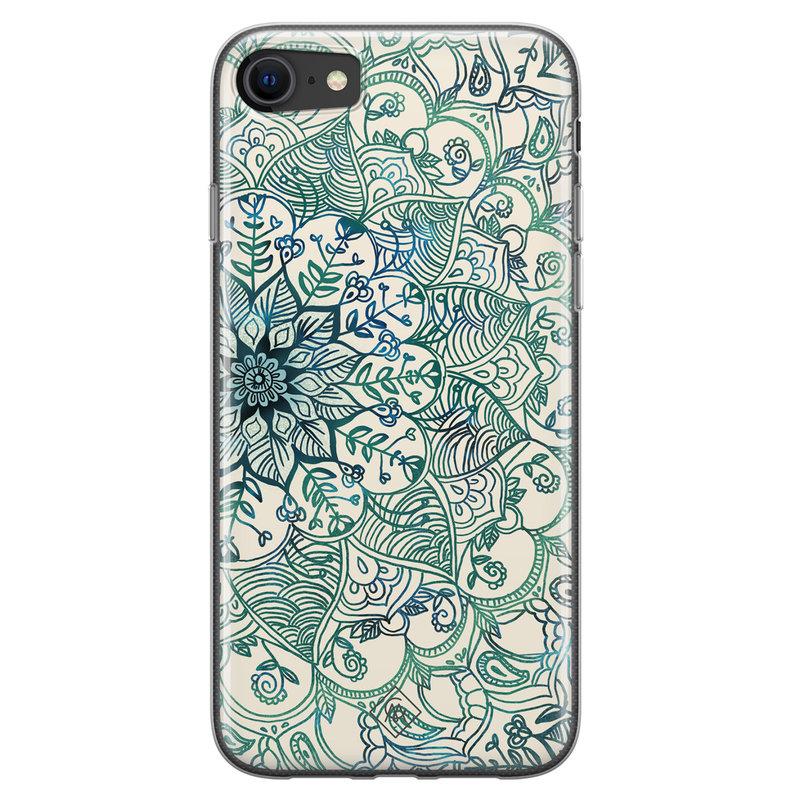 Casimoda iPhone SE 2020 siliconen hoesje - Mandala blauw