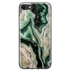Casimoda iPhone SE 2020 siliconen hoesje - Green waves