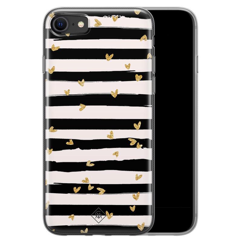 Casimoda iPhone SE 2020 siliconen telefoonhoesje - Hart streepjes