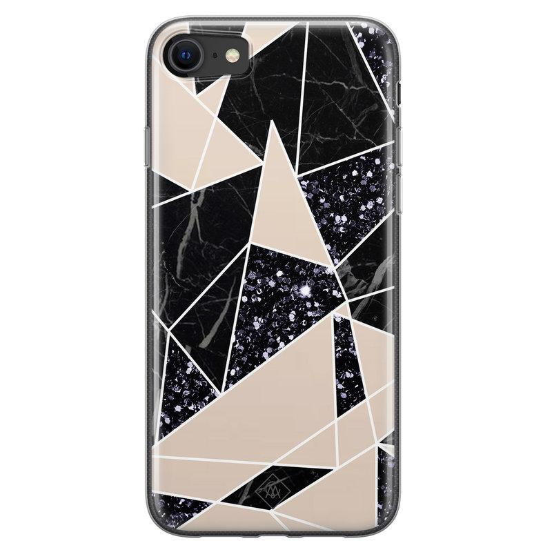 Casimoda iPhone SE 2020 siliconen telefoonhoesje - Abstract painted