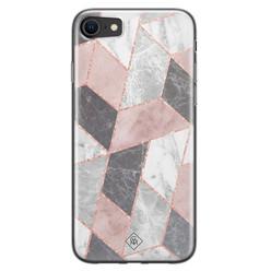 Casimoda iPhone SE 2020 siliconen hoesje - Stone grid