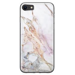 Casimoda iPhone SE 2020 siliconen hoesje - Parelmoer marmer