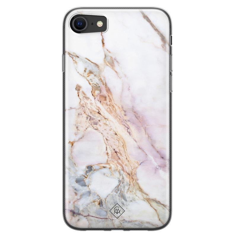 Casimoda iPhone SE 2020 siliconen telefoonhoesje - Parelmoer marmer