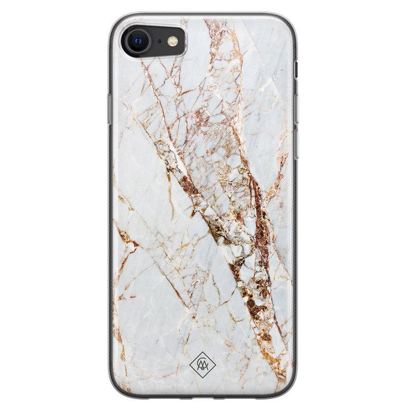 Casimoda iPhone SE 2020 siliconen hoesje - Marmer goud
