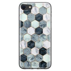 Casimoda iPhone SE 2020 siliconen hoesje - Blue cubes