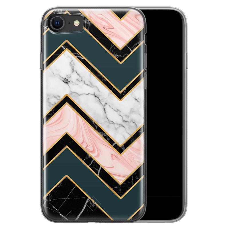 Casimoda iPhone SE 2020 siliconen hoesje - Marmer triangles