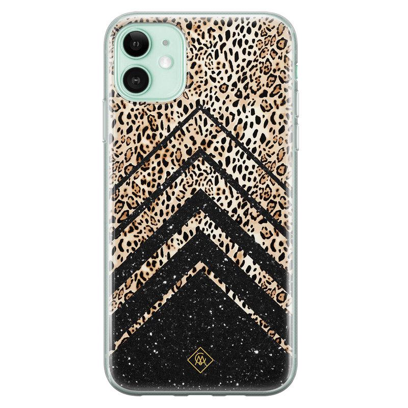 Casimoda iPhone 11 siliconen hoesje - Chevron luipaard