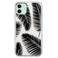 Casimoda iPhone 11 siliconen telefoonhoesje - Palm leaves silhouette