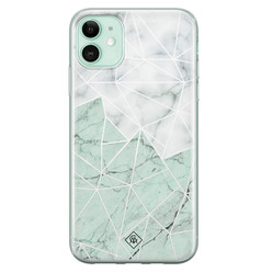 Casimoda iPhone 11 siliconen hoesje - Marmer mint mix
