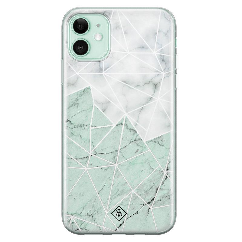 Casimoda iPhone 11 siliconen telefoonhoesje - Marmer mint mix