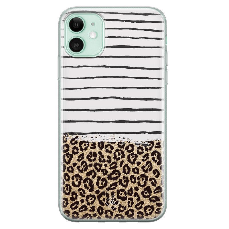 Casimoda iPhone 11 siliconen telefoonhoesje - Leopard lines