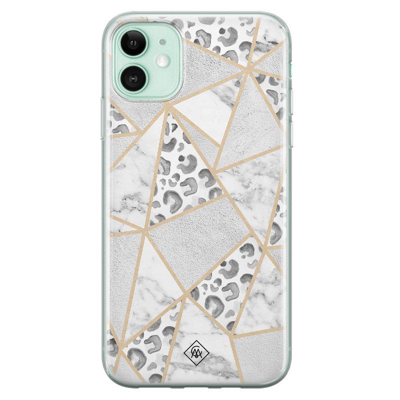 Casimoda iPhone 11 siliconen telefoonhoesje - Stone & leopard print