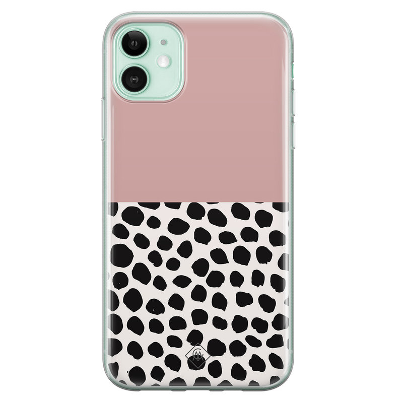 Casimoda iPhone 11 siliconen hoesje - Pink dots